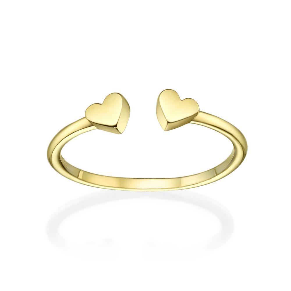 תכשיטי זהב לנשים | טבעת פתוחה מזהב צהוב 14 קראט - שני לבבות