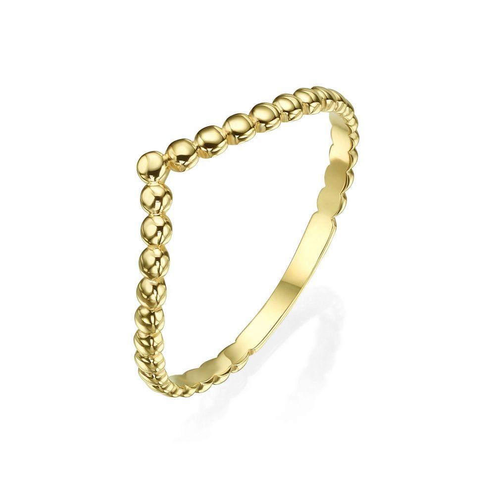 תכשיטי זהב לנשים   טבעת מזהב צהוב 14 קראט - וי כדורים
