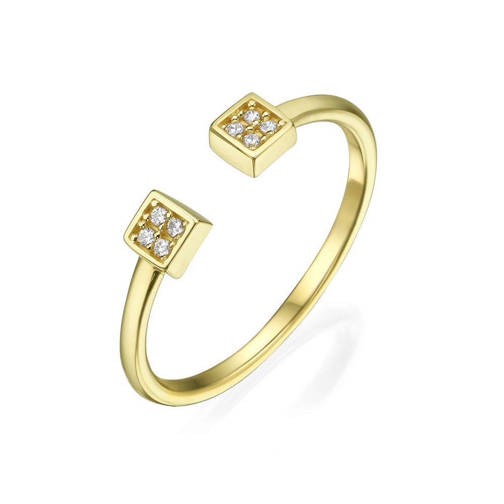 תכשיטי זהב לנשים   טבעת פתוחה מזהב צהוב 14 קראט - ריבועים משובצים