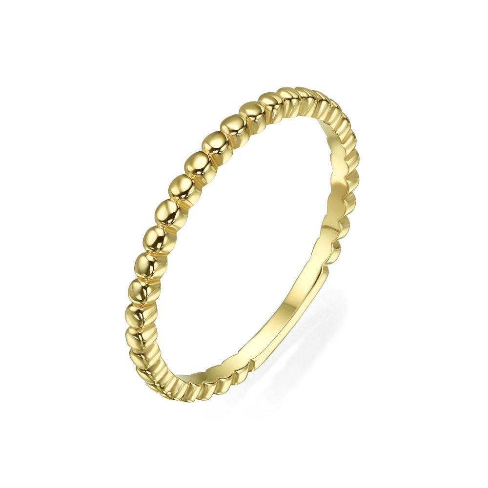 תכשיטי זהב לנשים | טבעת מזהב צהוב 14 קראט - כדורים