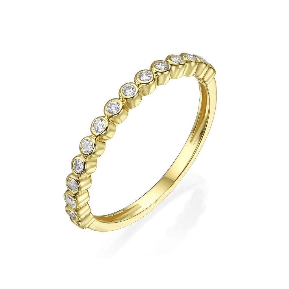 תכשיטי זהב לנשים | טבעת מזהב צהוב 14 קראט - כדורים וזירקונים
