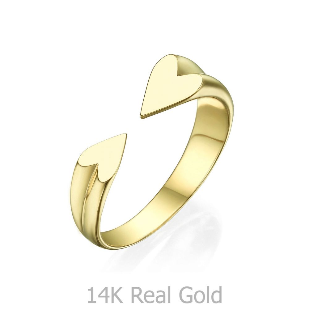 תכשיטי זהב לנשים | טבעת פתוחה מזהב צהוב 14 קראט - הלב שלי
