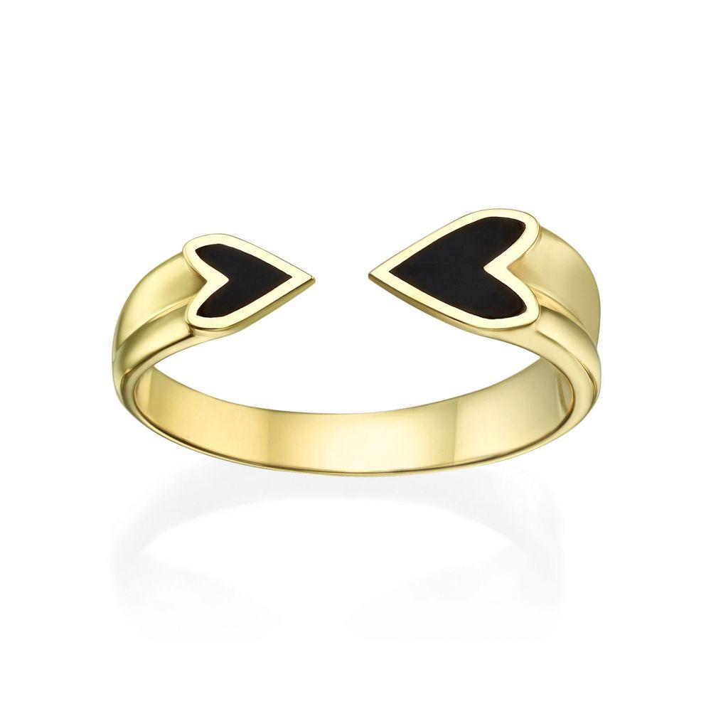 תכשיטי זהב לנשים | טבעת פתוחה מזהב צהוב 14 קראט - הלב שלי (שחור)