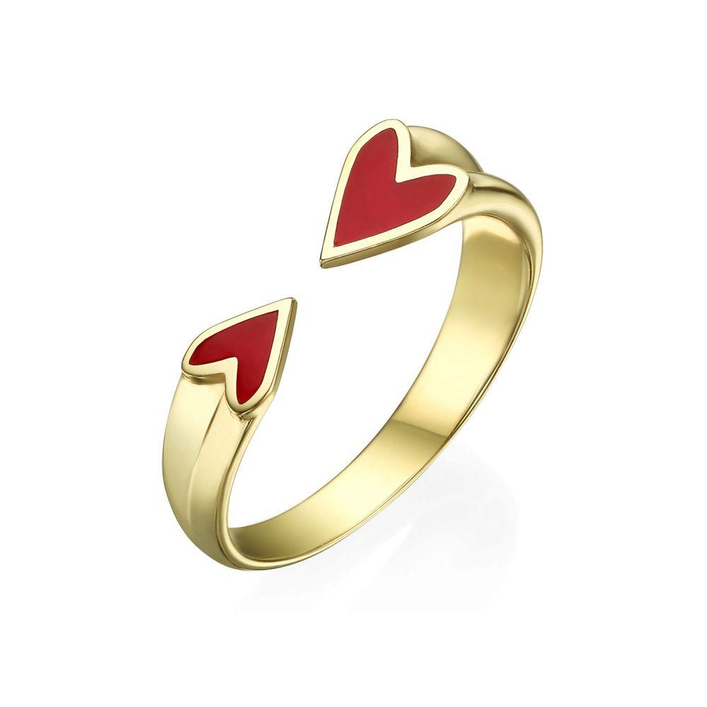 תכשיטי זהב לנשים | טבעת פתוחה מזהב צהוב 14 קראט - הלב שלי (אדום)