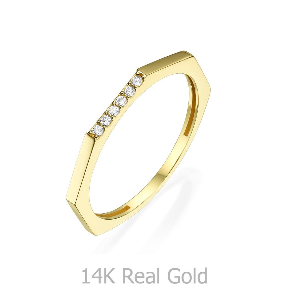 תכשיטי זהב לנשים | טבעת מזהב צהוב 14 קראט - מחומש