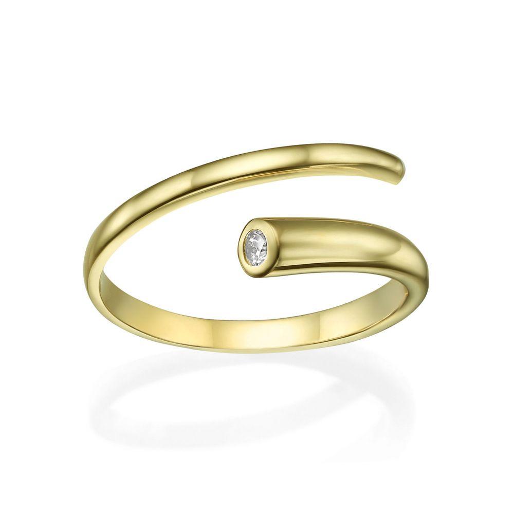 תכשיטי זהב לנשים | טבעת פתוחה מזהב צהוב 14 קראט - ספירלה