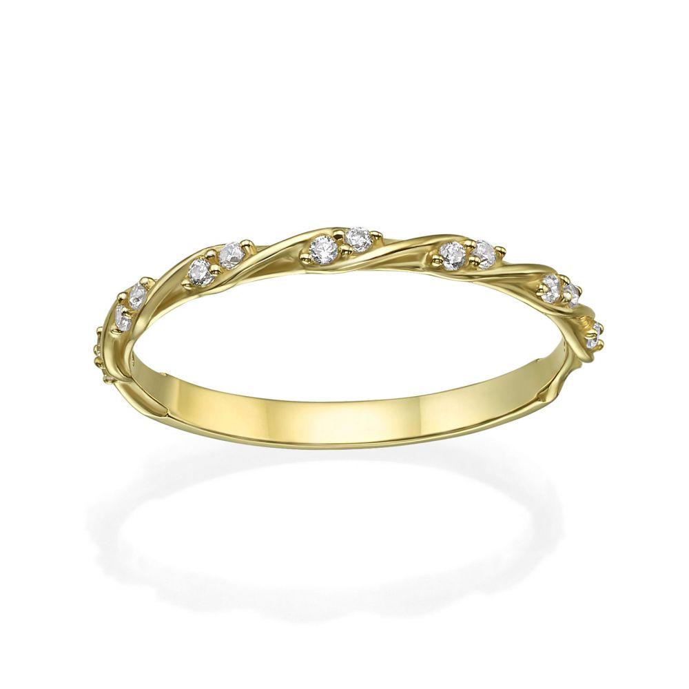 תכשיטי זהב לנשים | טבעת מזהב צהוב 14 קראט - טוויסט