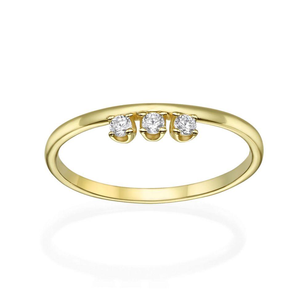 תכשיטי זהב לנשים | טבעת מזהב צהוב 14 קראט - טריניטי