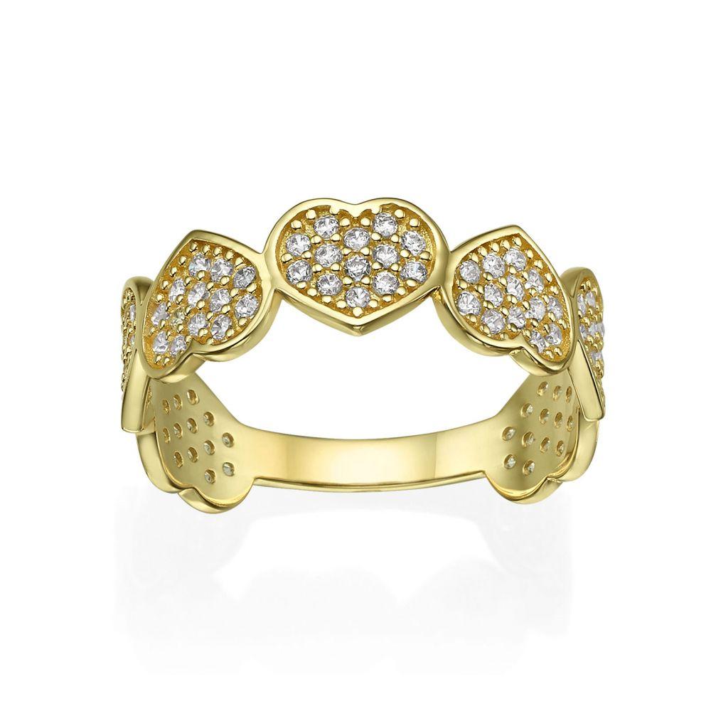תכשיטי זהב לנשים | טבעת מזהב צהוב 14 קראט - לבבות אינפיניטי