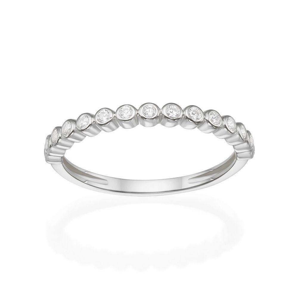 תכשיטי זהב לנשים | טבעת מזהב לבן 14 קראט - כדורים וזירקונים