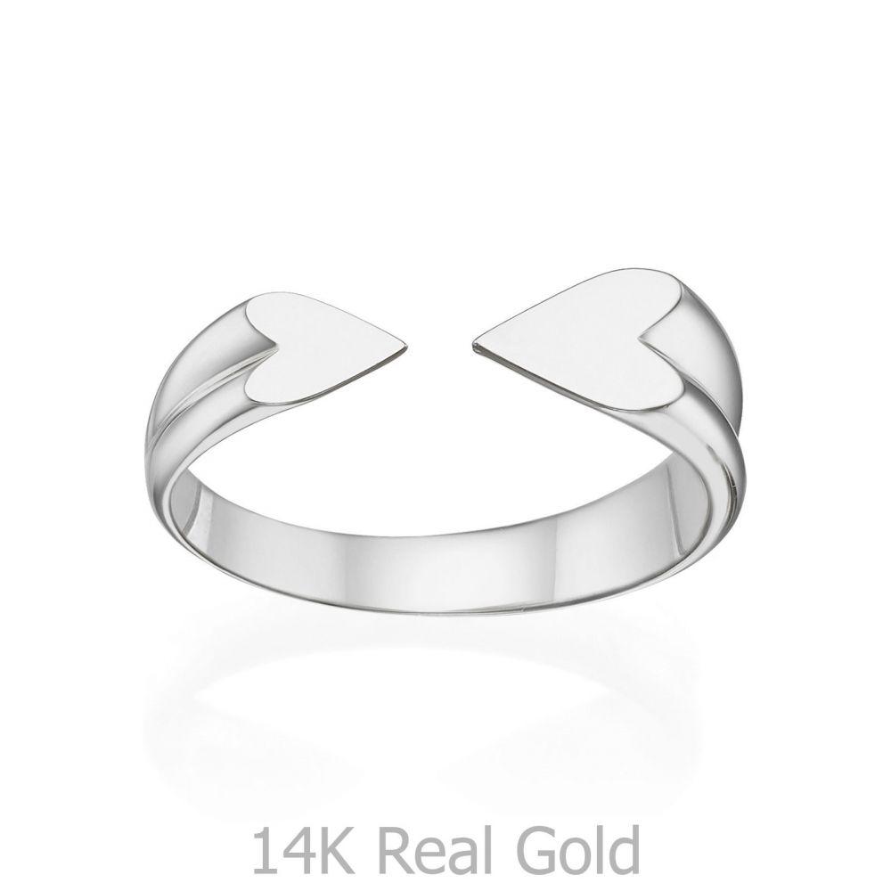 תכשיטי זהב לנשים | טבעת פתוחה מזהב לבן 14 קראט - הלב שלי