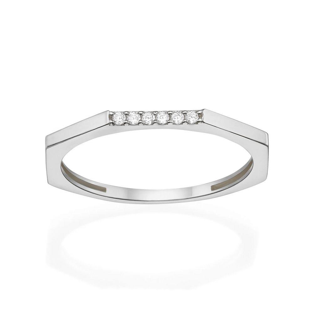 תכשיטי זהב לנשים   טבעת מזהב לבן 14 קראט - מחומש