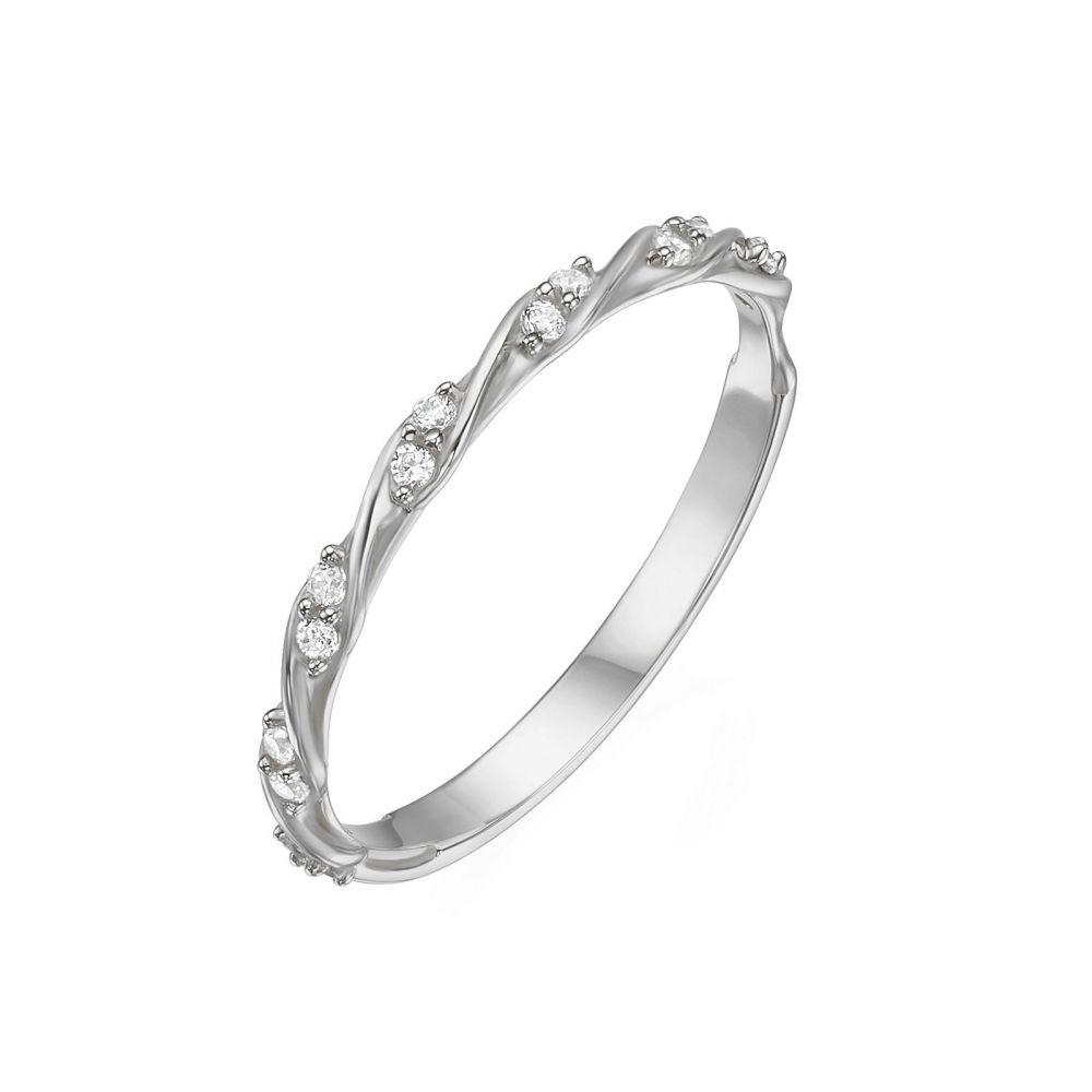 תכשיטי זהב לנשים | טבעת מזהב לבן 14 קראט - טוויסט
