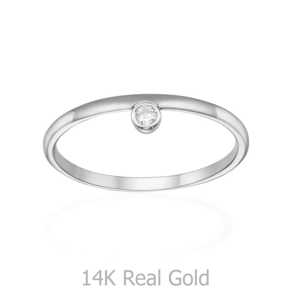 תכשיטי זהב לנשים | טבעת מזהב לבן 14 קראט - אמה