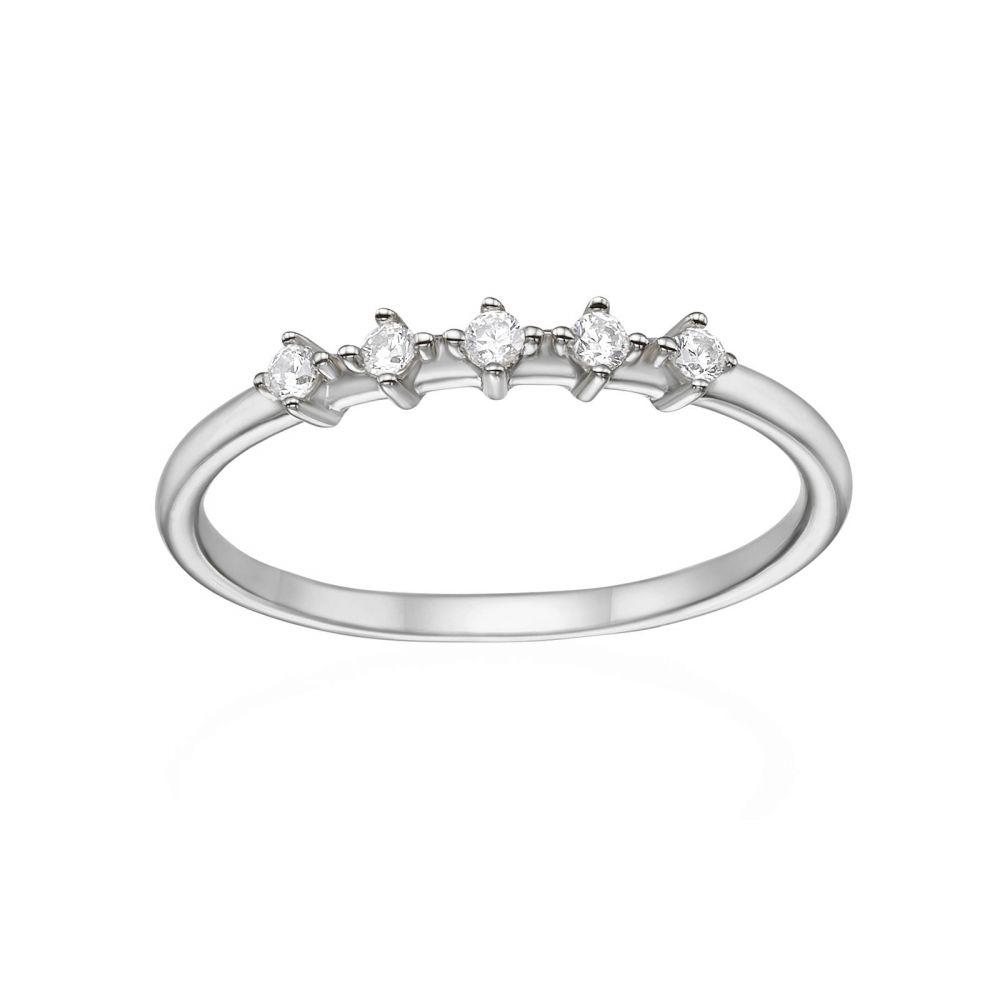 תכשיטי זהב לנשים | טבעת מזהב לבן 14 קראט - מייגן