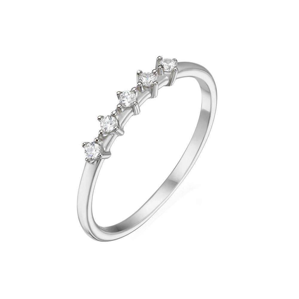 תכשיטי זהב לנשים   טבעת מזהב לבן 14 קראט - מייגן