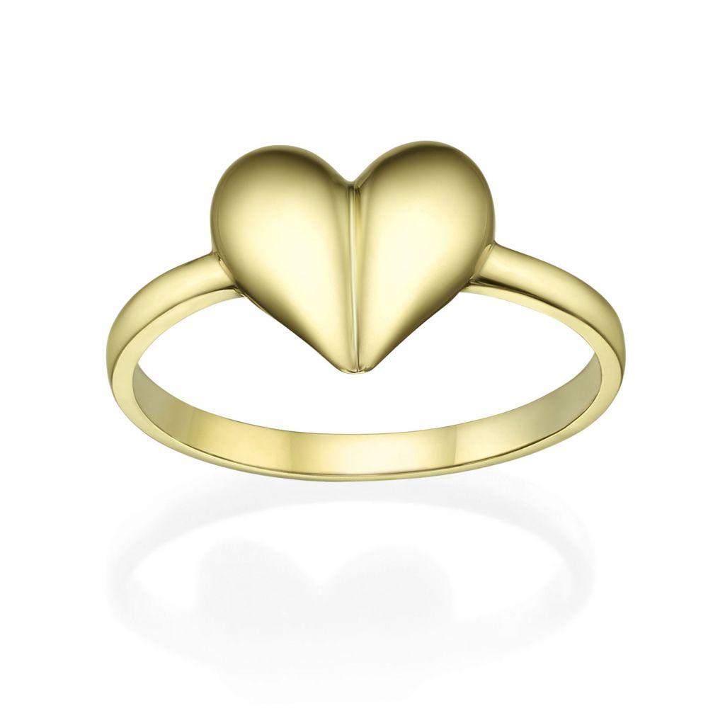 תכשיטי זהב לנשים   טבעת מזהב צהוב 14 קראט - לב עמוק