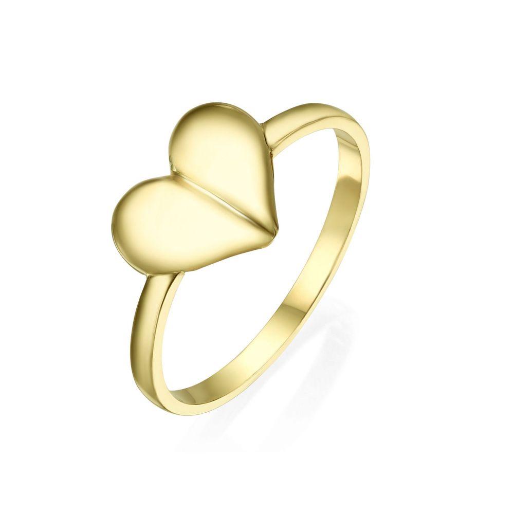 תכשיטי זהב לנשים | טבעת מזהב צהוב 14 קראט - לב עמוק