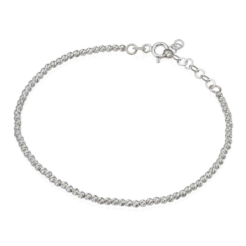 תכשיטי זהב לנשים | צמיד לאישה מזהב לבן 14 קראט - כדורים