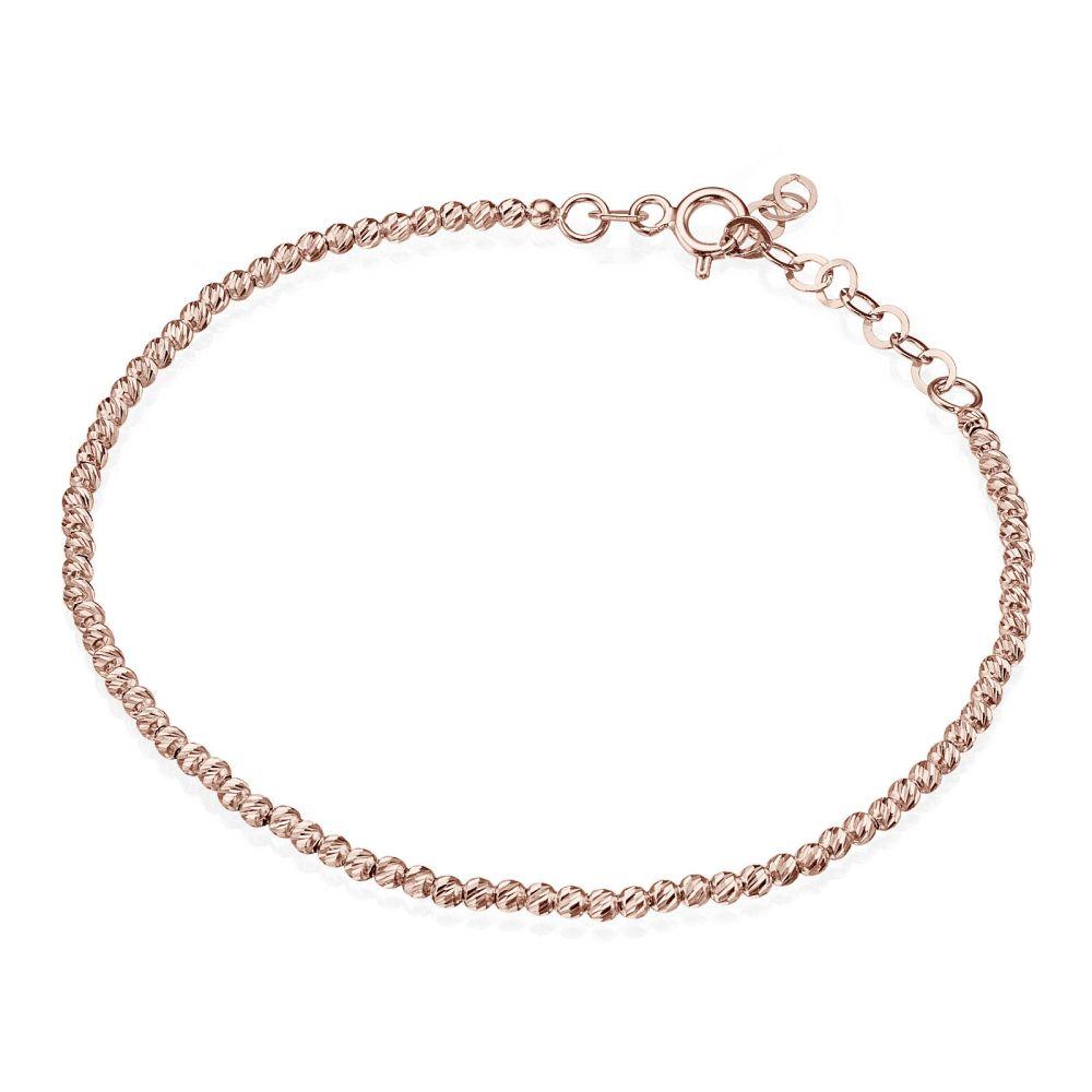 תכשיטי זהב לנשים | צמיד לאישה מזהב ורוד 14 קראט - כדורים