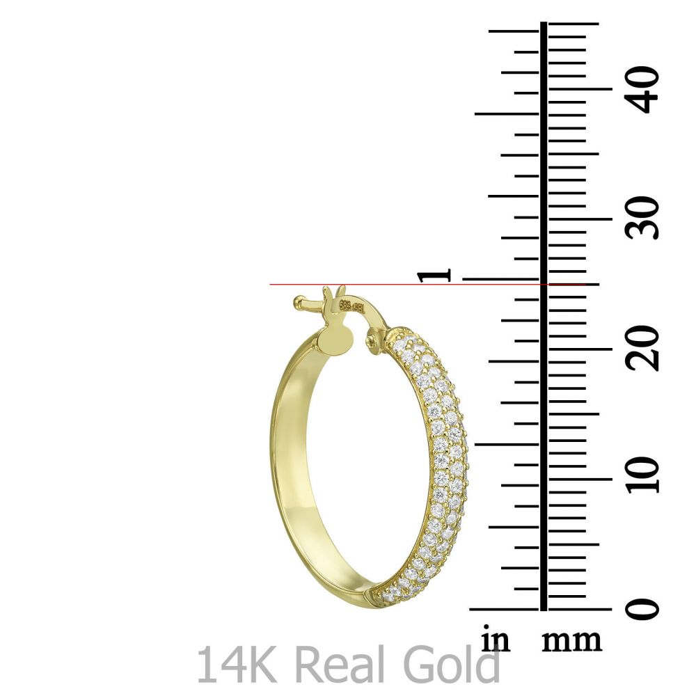 תכשיטי זהב לנשים | עגילי נשים מזהב צהוב 14 קראט - חישוק נוצץ גדול