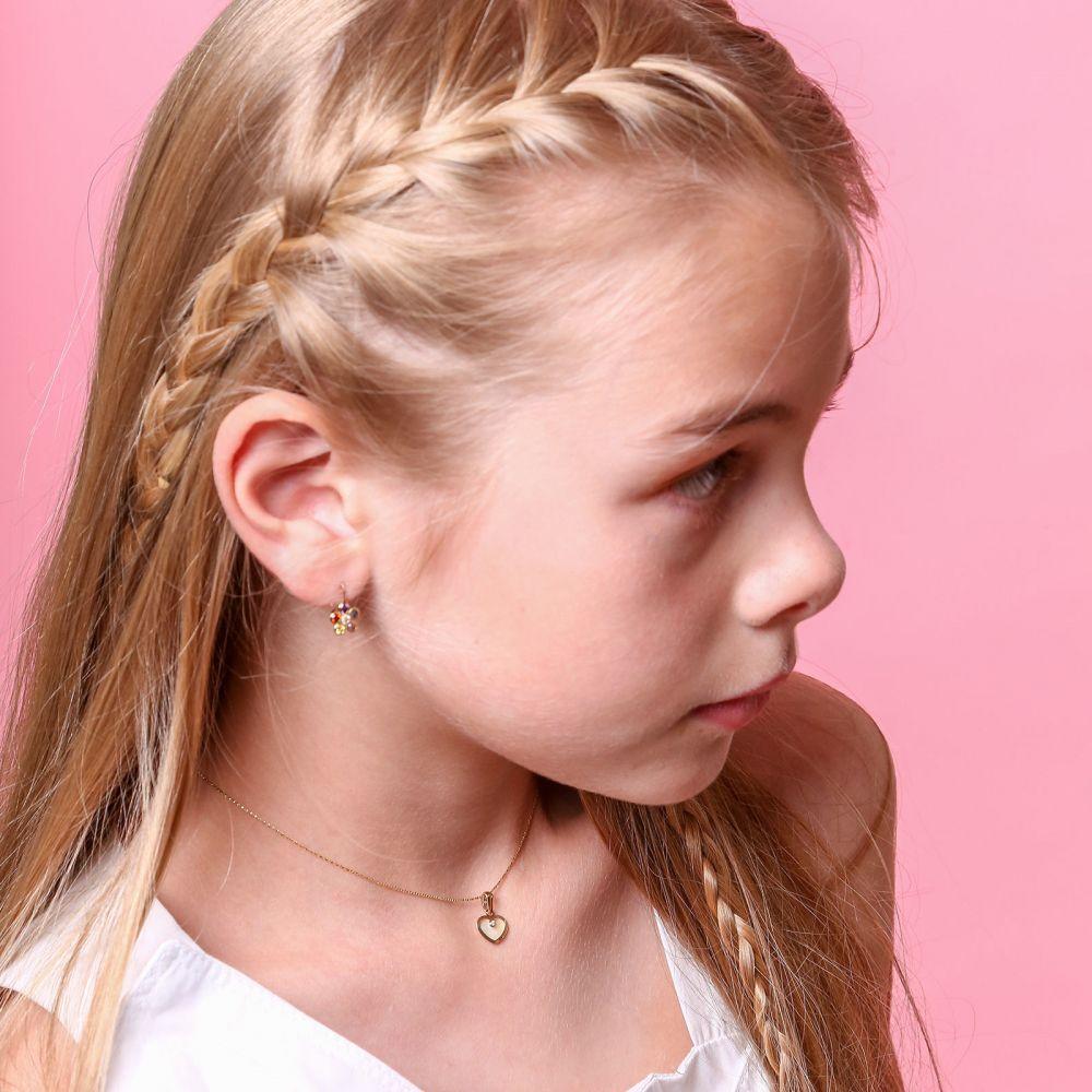 תכשיטים מזהב לילדות | תליון ושרשרת (45 ס''מ) מזהב צהוב - לב צדף וזירקון