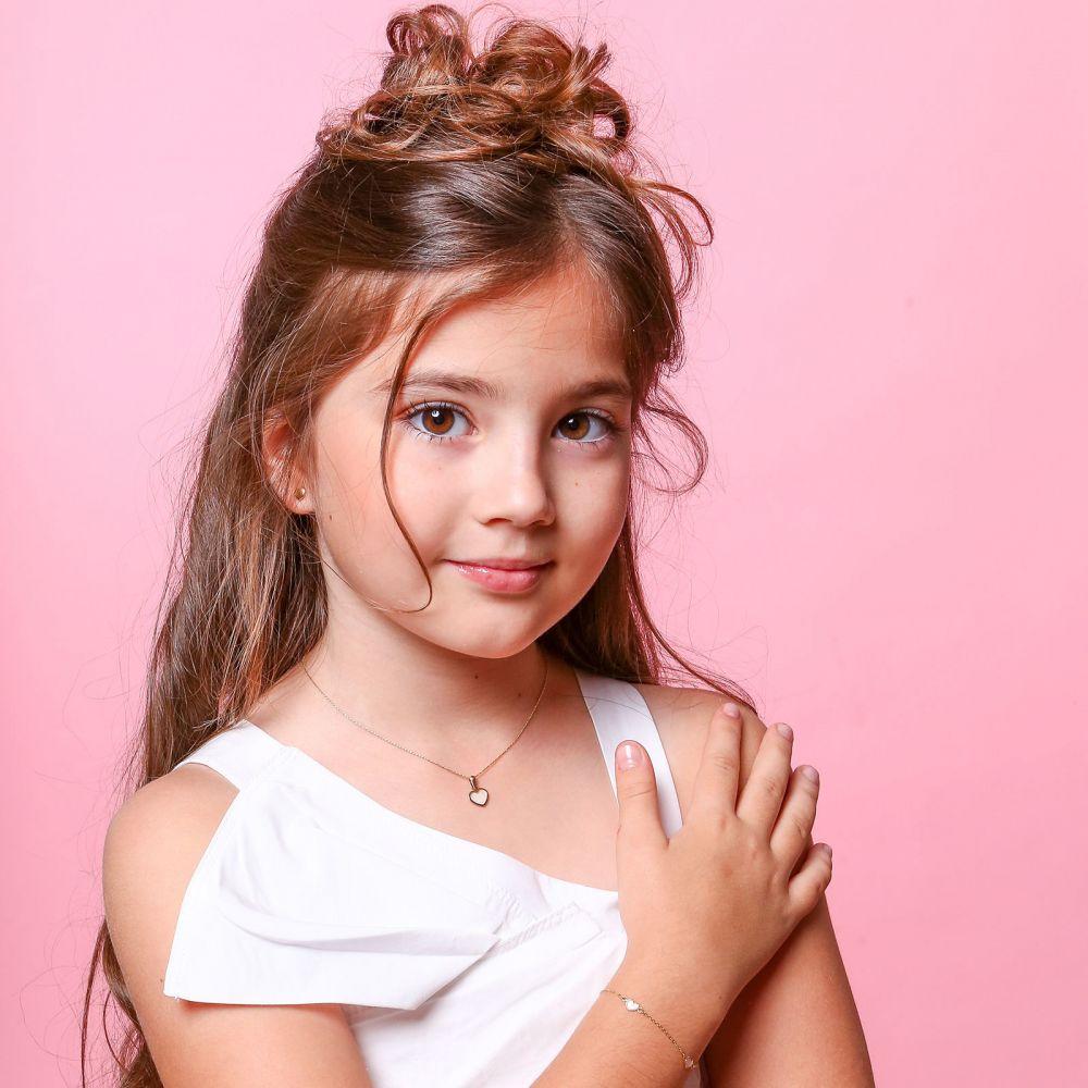 תכשיטים מזהב לילדות | תליון ושרשרת (45 ס''מ) מזהב צהוב - לב הצדף