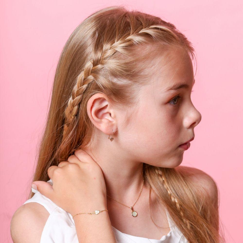 תכשיטים מזהב לילדות | תליון ושרשרת מזהב צהוב - צדף עגול