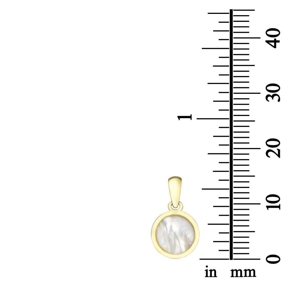 תכשיטים מזהב לילדות   תליון ושרשרת (45 ס''מ) מזהב צהוב - צדף עגול