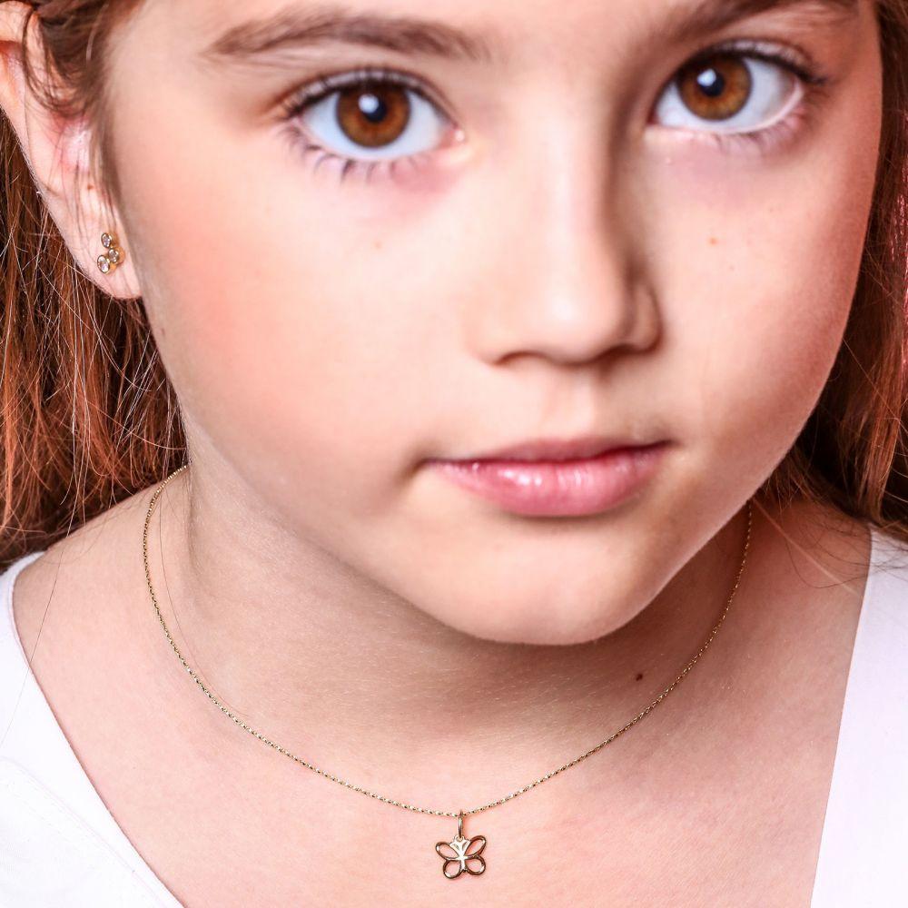 תכשיטים מזהב לילדות | תליון ושרשרת מזהב צהוב - פרפר קליל
