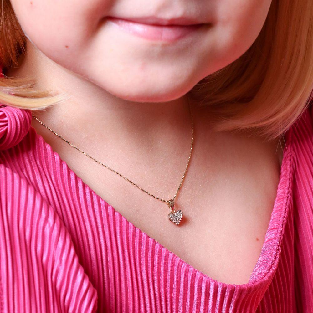 תכשיטים מזהב לילדות | תליון ושרשרת מזהב צהוב - לב מאוהב
