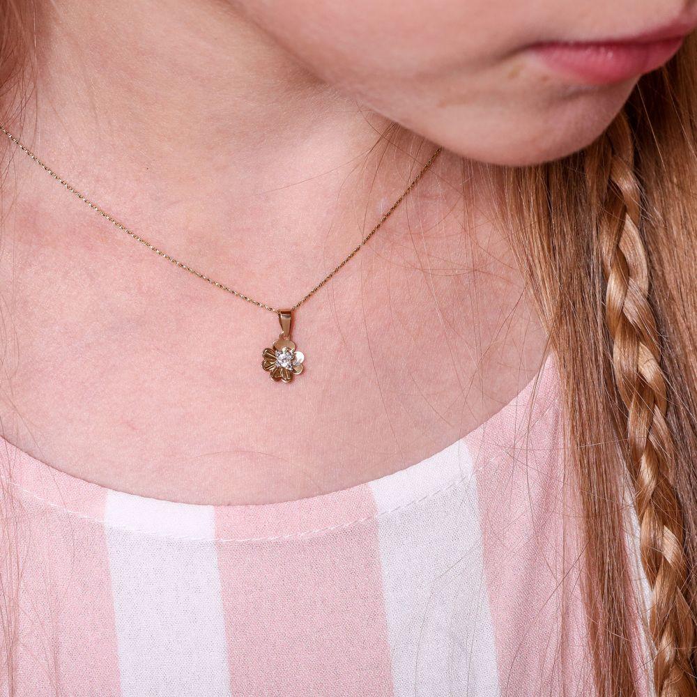 תכשיטים מזהב לילדות | תליון ושרשרת מזהב צהוב - פרח רוזבאד