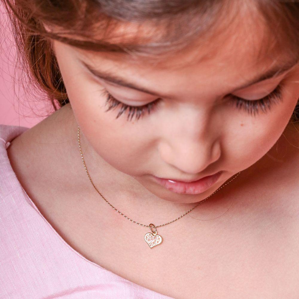 תכשיטים מזהב לילדות | תליון ושרשרת מזהב צהוב - לב מופשט