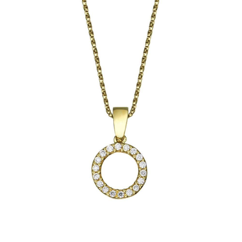תכשיטים מזהב לילדות | תליון ושרשרת מזהב צהוב - עיגולי שמחה