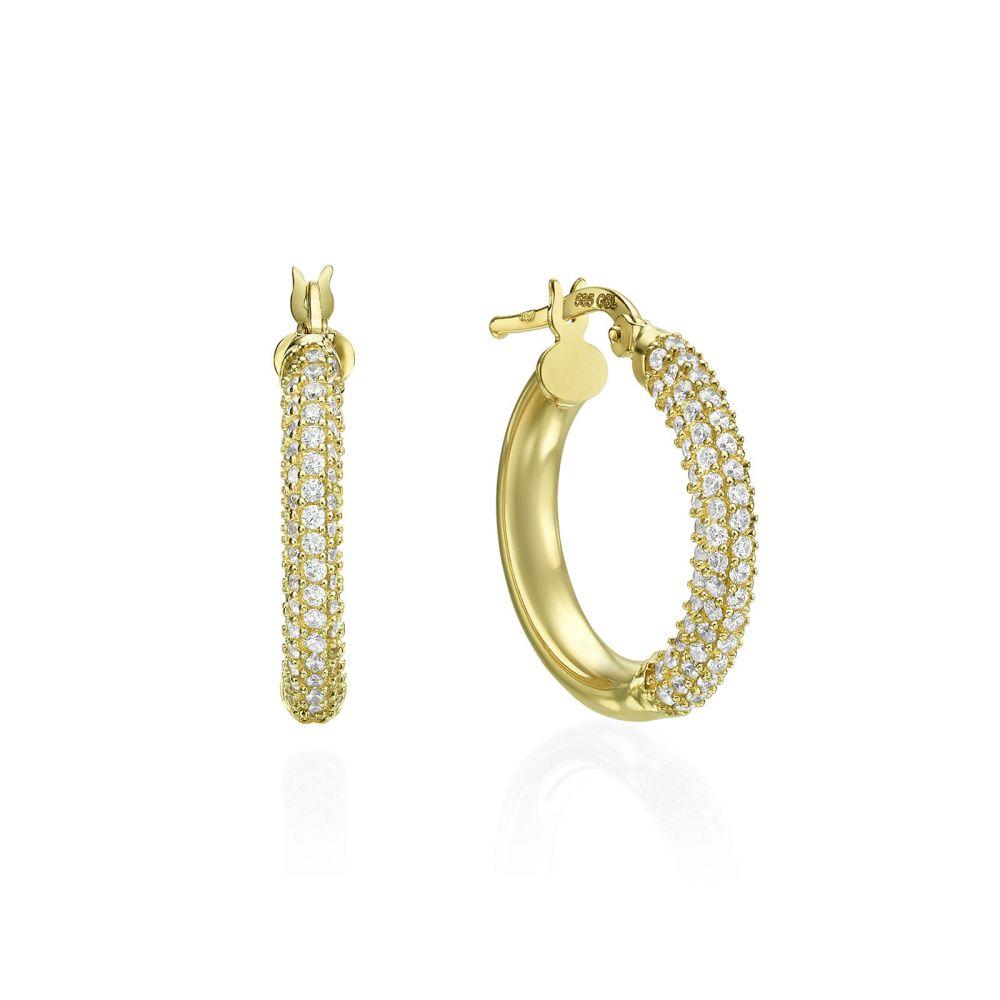 תכשיטי זהב לנשים | עגילי נשים מזהב צהוב 14 קראט - חישוק נוצץ בינוני