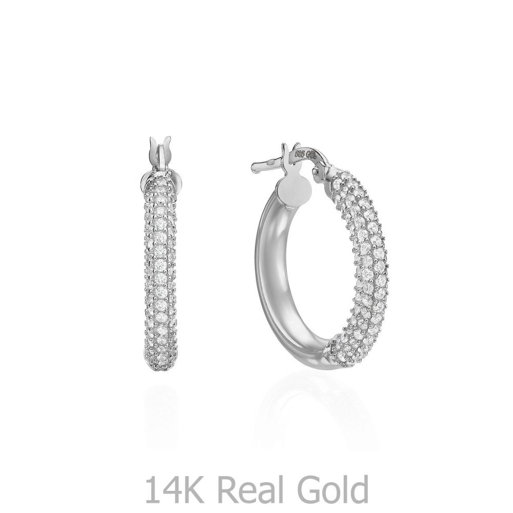 תכשיטי זהב לנשים | עגילי נשים מזהב לבן 14 קראט - חישוק נוצץ בינוני