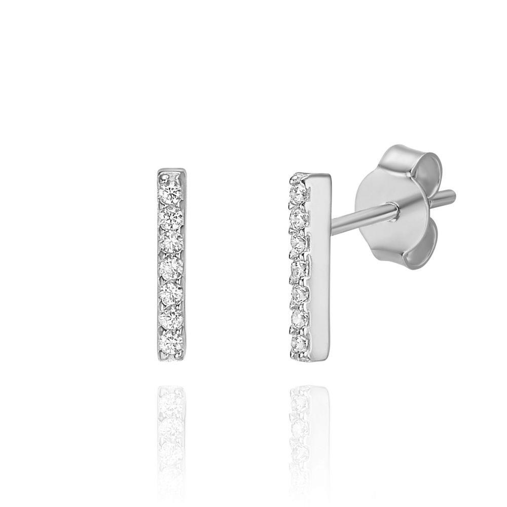 תכשיטי זהב לנשים | עגילים צמודים מזהב לבן 14 קראט -  בר זהב נוצץ