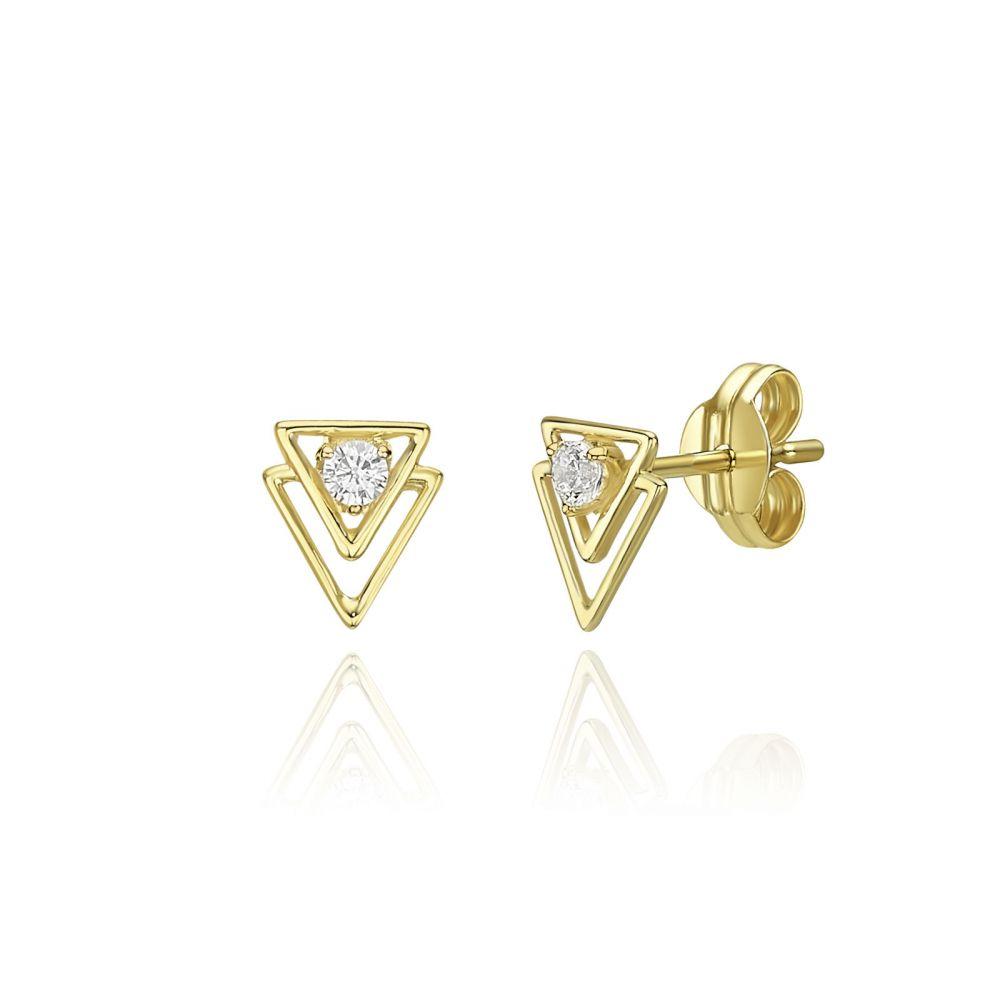 תכשיטי זהב לנשים | עגילים צמודים מזהב צהוב 14 קראט - פירמידות
