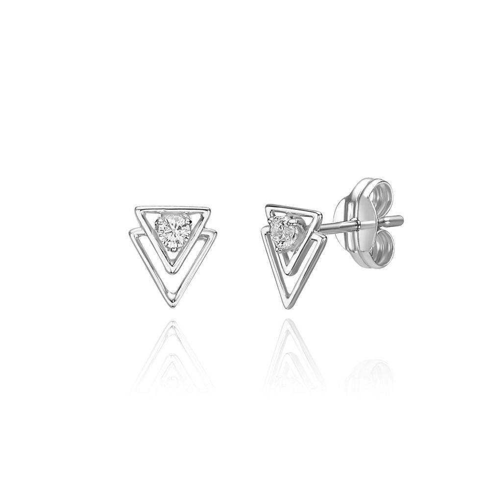 תכשיטי זהב לנשים | עגילים צמודים מזהב לבן 14 קראט - פירמידות