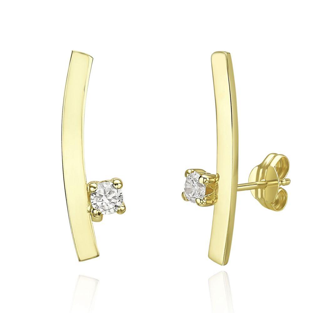 תכשיטי זהב לנשים | עגילים מטפסים מזהב צהוב 14 קראט - זריחה