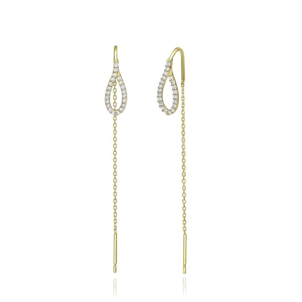 תכשיטי זהב לנשים | עגילים תלויים מזהב צהוב 14 קראט - טיפה מנצנצת