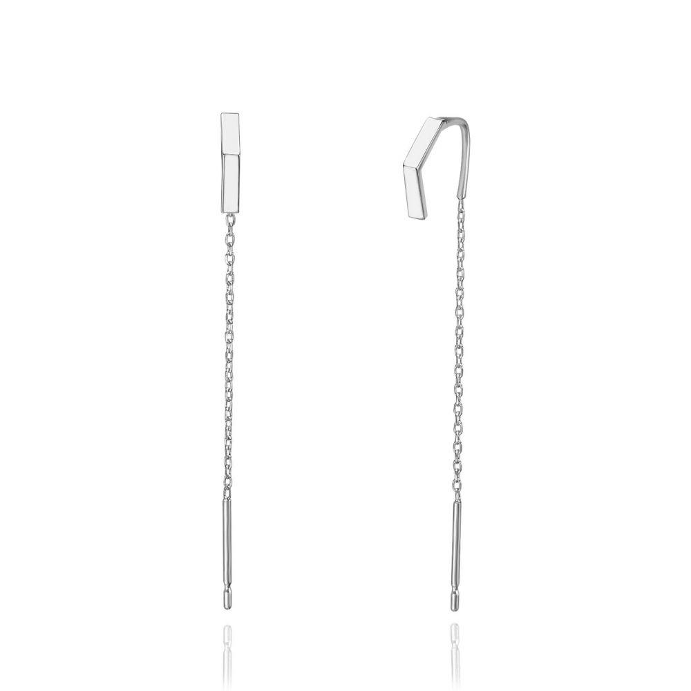 תכשיטי זהב לנשים | עגילים תלויים מזהב לבן 14 קראט - משולש פתוח