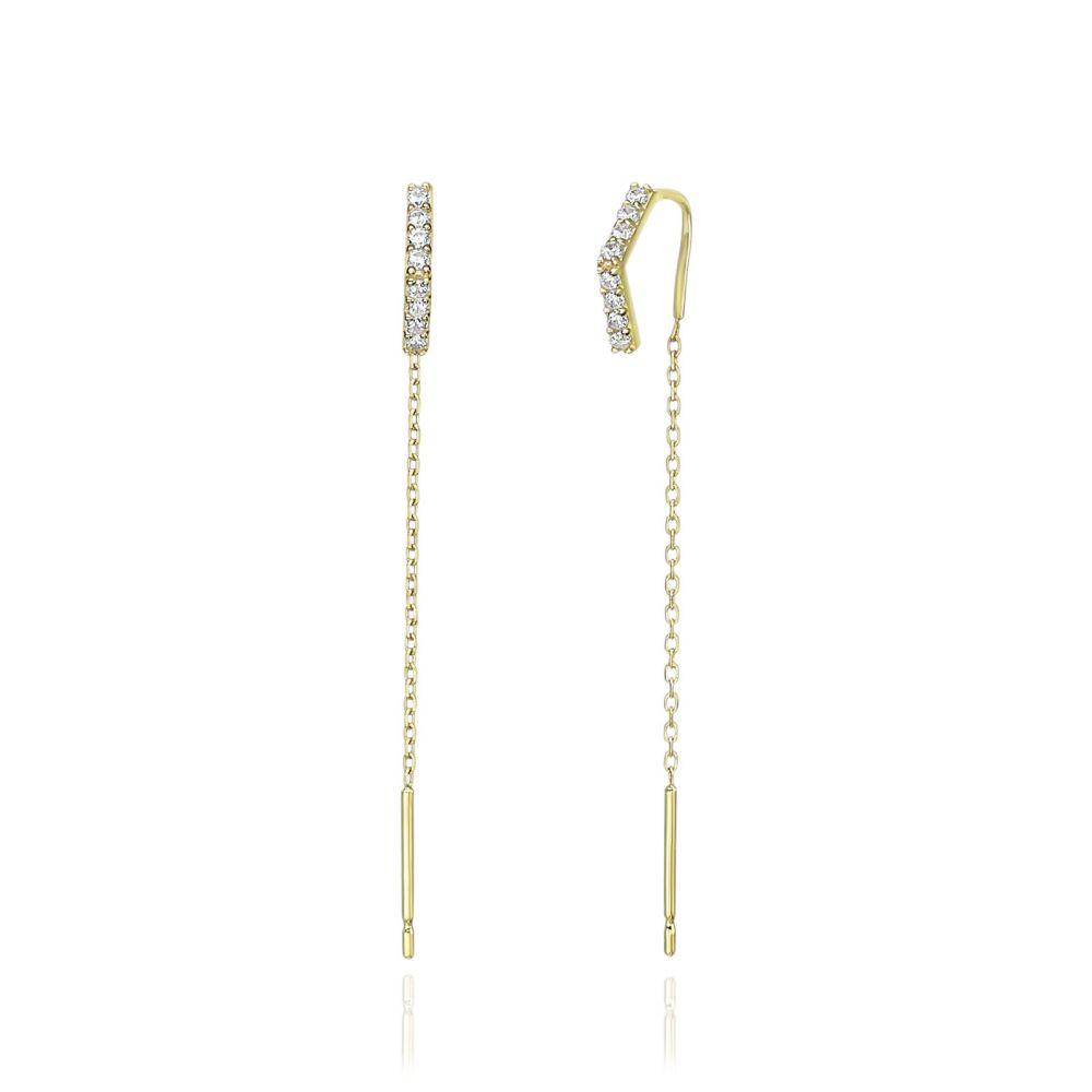 תכשיטי זהב לנשים | עגילים תלויים מזהב צהוב 14 קראט - משולש פתוח מנצנץ