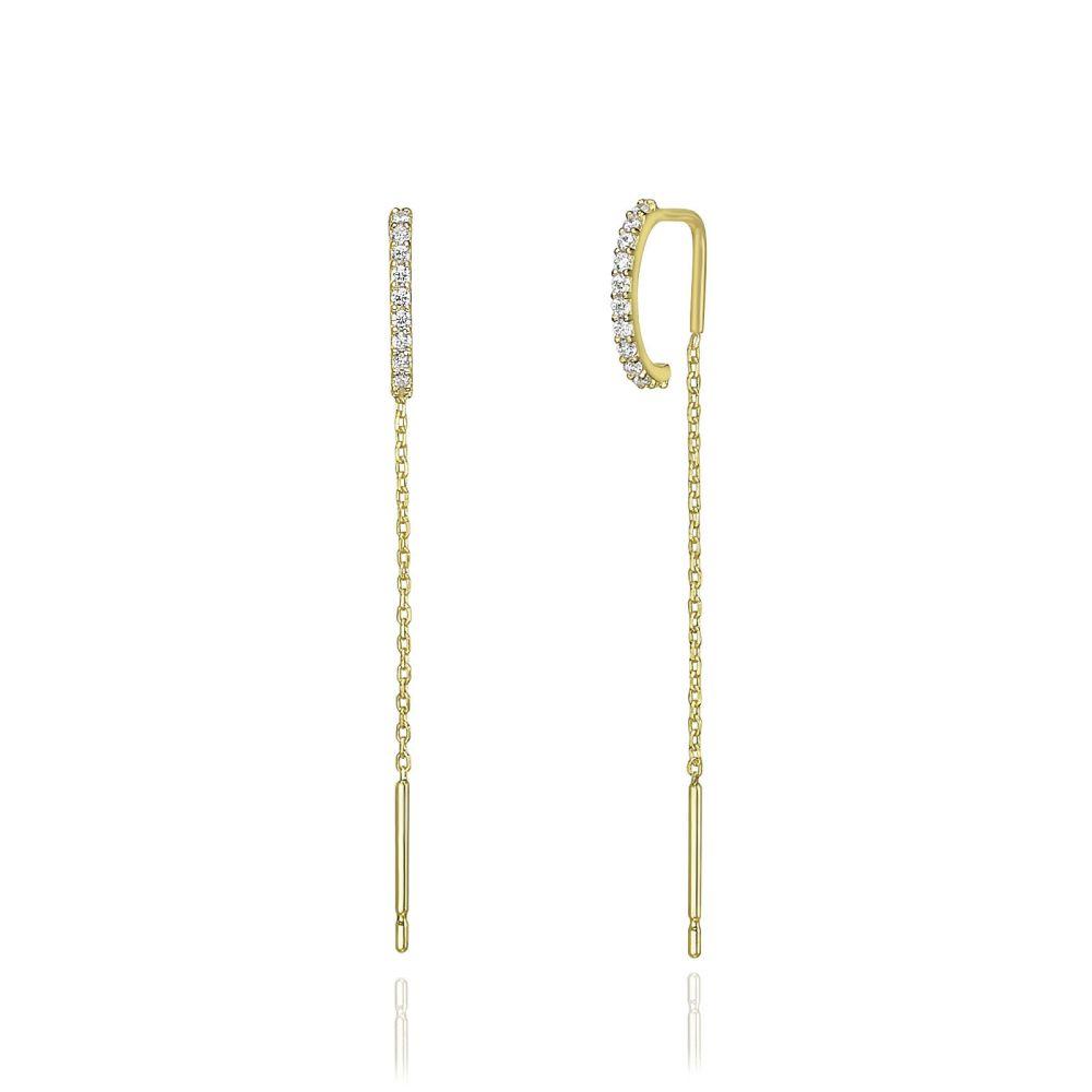 תכשיטי זהב לנשים | עגילים תלויים מזהב צהוב 14 קראט - ספיריט מנצנץ