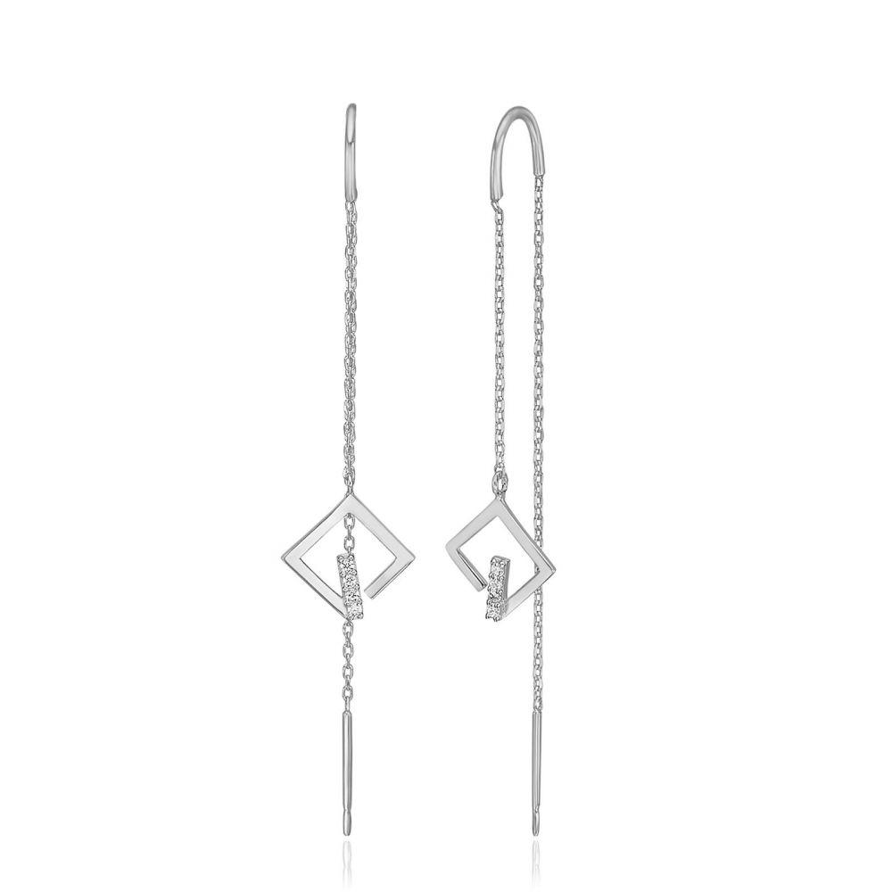 תכשיטי זהב לנשים | עגילים תלויים מזהב לבן 14 קראט - גרייס