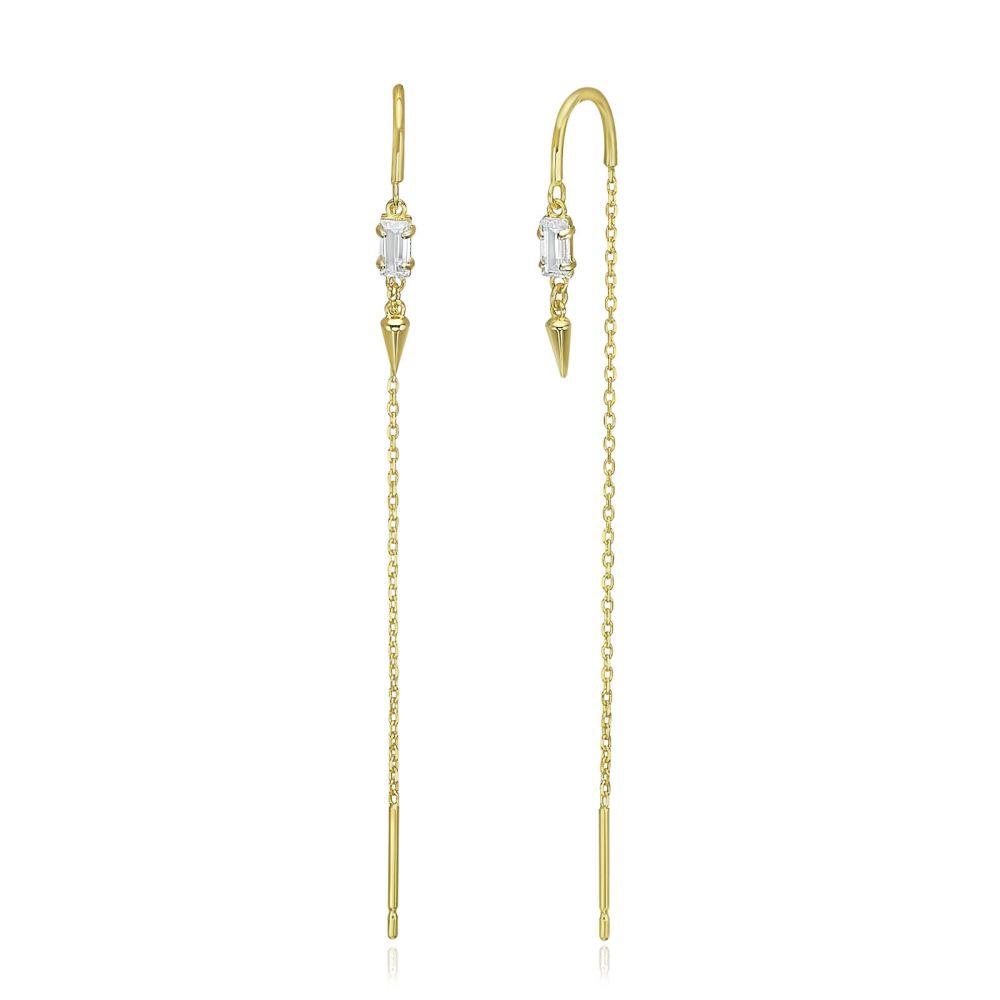 תכשיטי זהב לנשים | עגילים תלויים מזהב צהוב 14 קראט - שנחאי