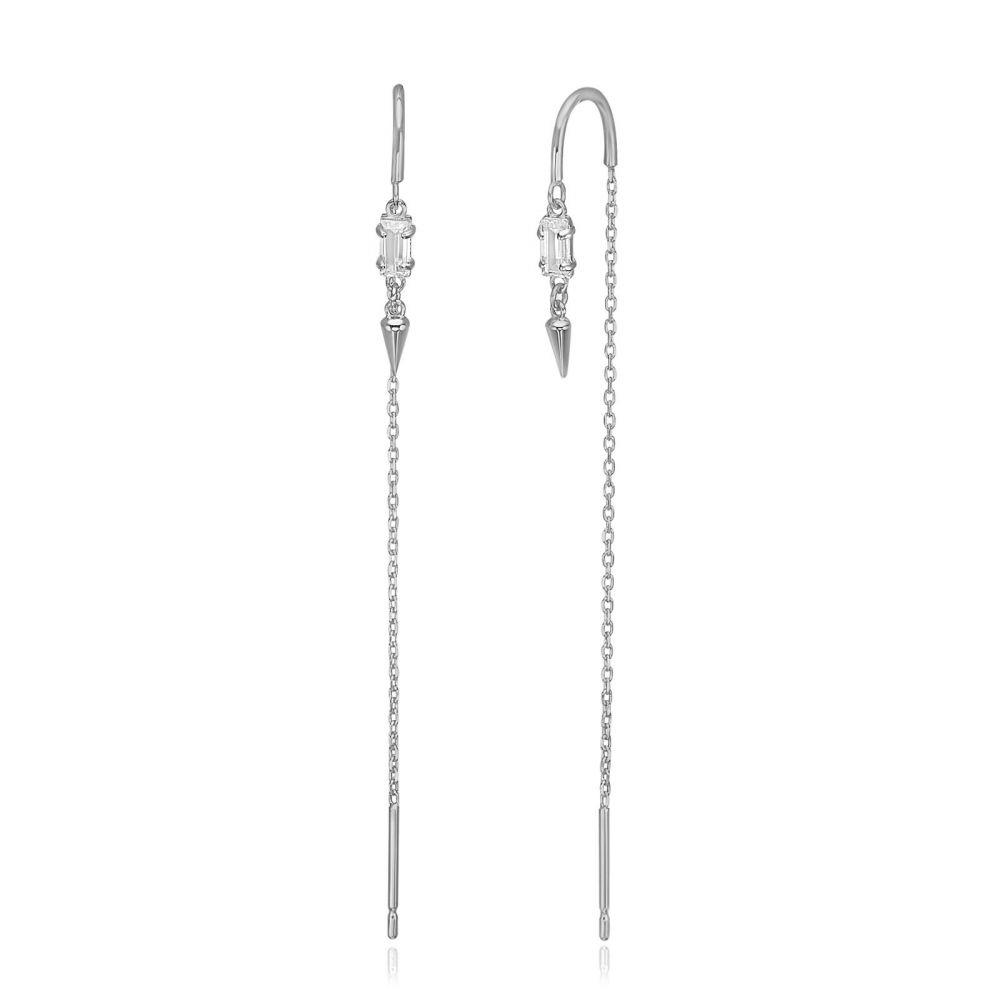 תכשיטי זהב לנשים   עגילים תלויים מזהב לבן 14 קראט - שנחאי