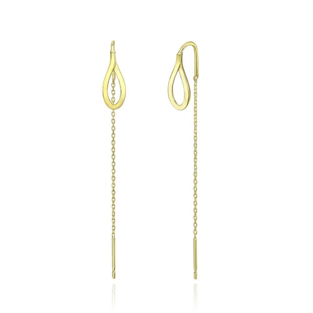 תכשיטי זהב לנשים | עגילים תלויים מזהב צהוב 14 קראט - טיפה