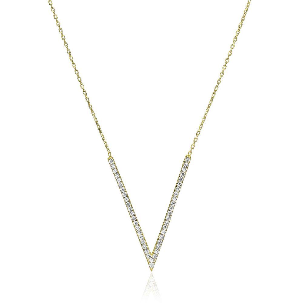תכשיטי זהב לנשים   שרשרת ותליון מזהב צהוב 14 קראט -  ולריה