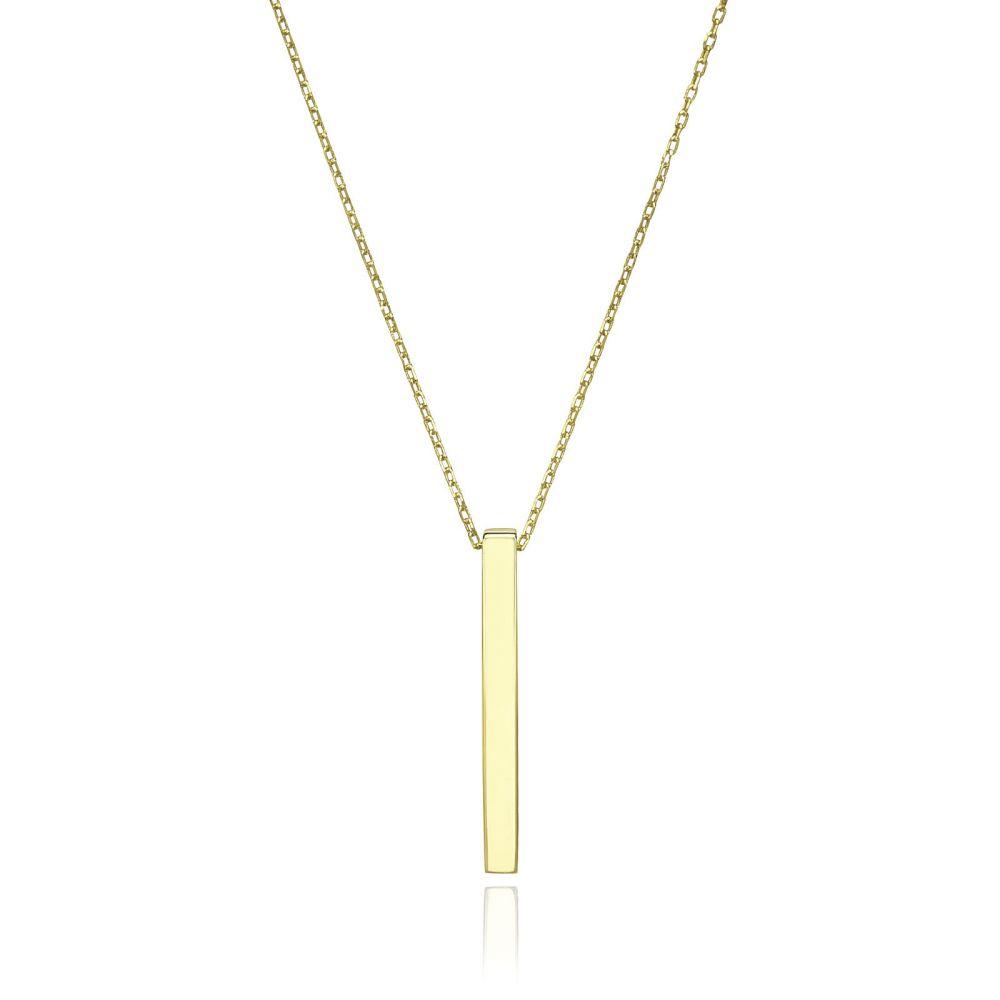 תכשיטי זהב לנשים | שרשרת ותליון מזהב צהוב 14 קראט - בר זהב מלבני